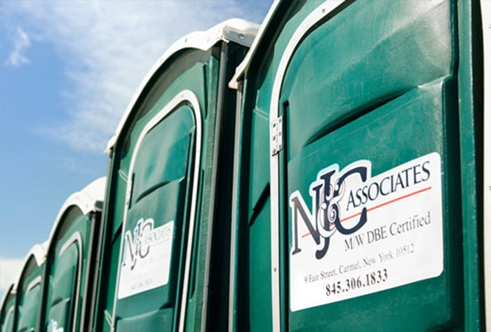 portable toilets on construction sites